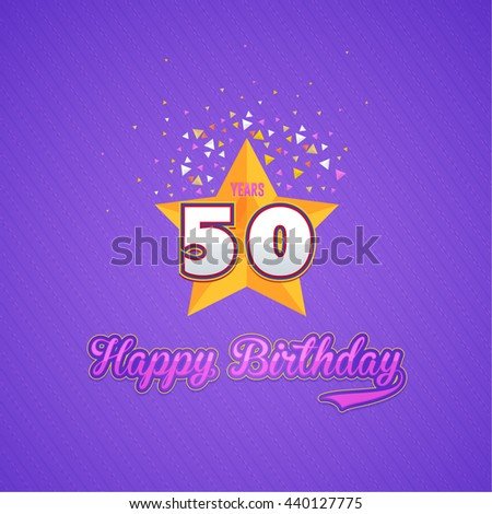 Colorful Happy Birthday Design, Age 50 Concept Greeting Card Template - stock vector