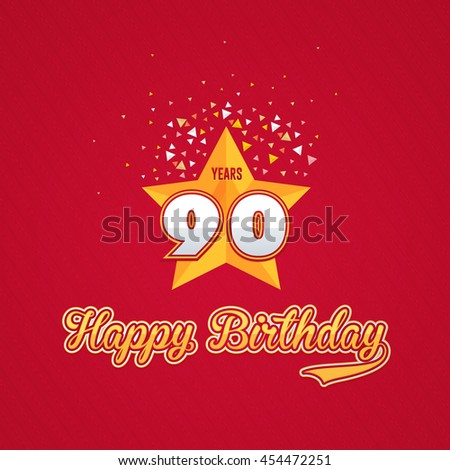 Colorful Happy Birthday Design, Age 90 Concept Greeting Card Template - stock vector