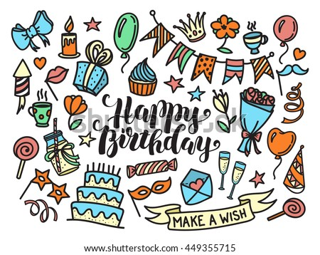 Colorful happy birthday party lettering and doodle set, vector illustration isolated on white background. Funny set of sketch birthday party objects - stock vector