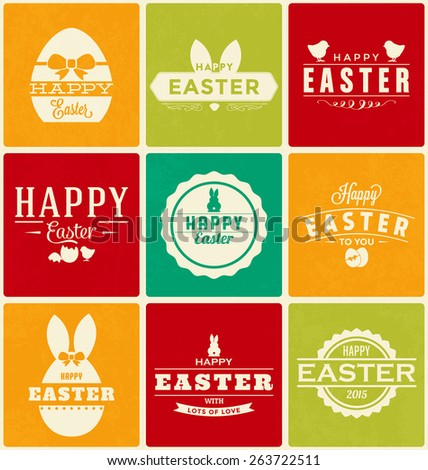 Colorful Happy Easter Design Collection - A set of nine vintage style Easter Label Designs on brightly colored backgrounds - stock vector