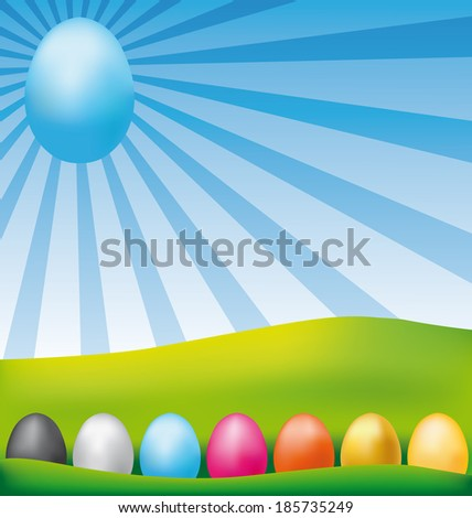Colorful happy Easter eggs card. Vector illustration. - stock vector