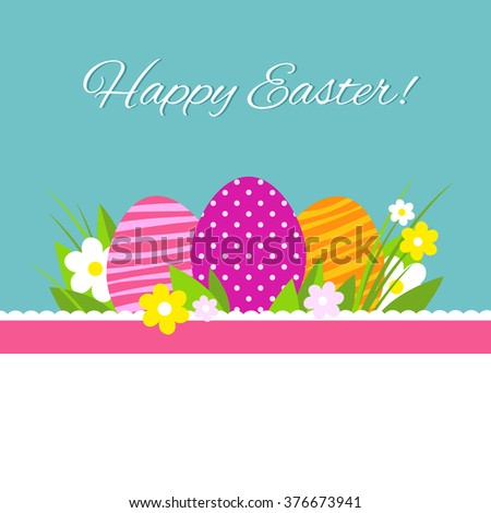 Colorful happy easter greeting card flowers stock vector 376673941 colorful happy easter greeting card with flowers eggs and ribbon vector file with white background m4hsunfo
