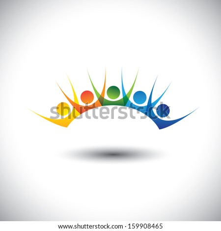Colorful happy & excited set of people enjoying & having fun. This vector logo template can represent kids having good time, friends party, excited team members, happy employees, satisfied customers - stock vector