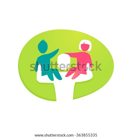 Colorful happy family logo design. Child sitting on father's shoulders. Vector elements for your application or corporate identity design.