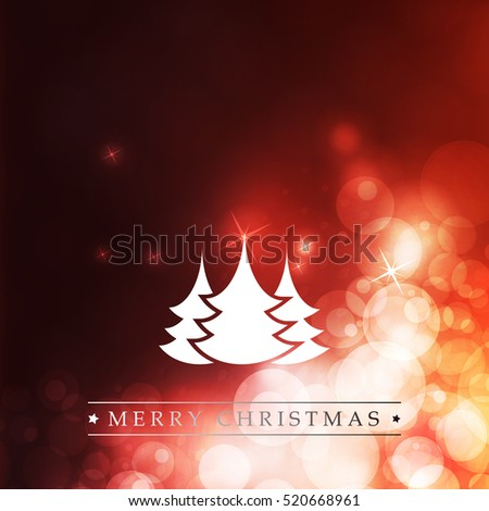 Colorful Happy Holidays, Merry Christmas Greeting Card With Label, Christmas Tree on a Sparkling Blurred Background