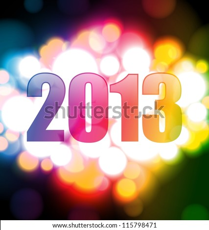 Colorful Happy new year 2013 card - stock vector