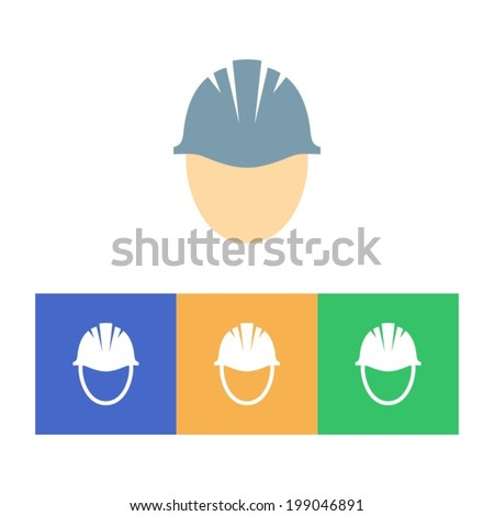 Colorful hard hat icons on white background - stock vector