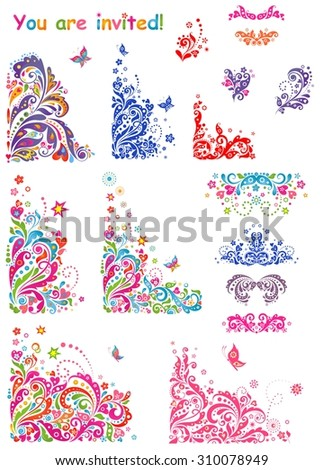 Colorful header and design elements for party invitation - stock vector