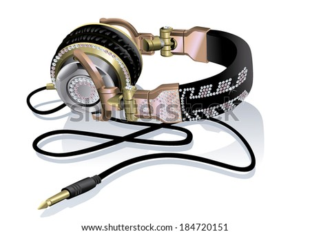 colorful headphones feminine style luxury  - stock vector