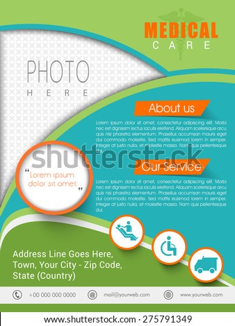 Colorful health care template, banner or flyer presentation with different medical elements. - stock vector