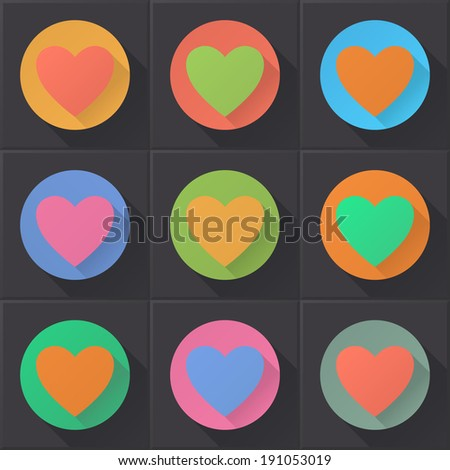Colorful heart icons set (flat design). EPS 10. No transparency. Gradients.