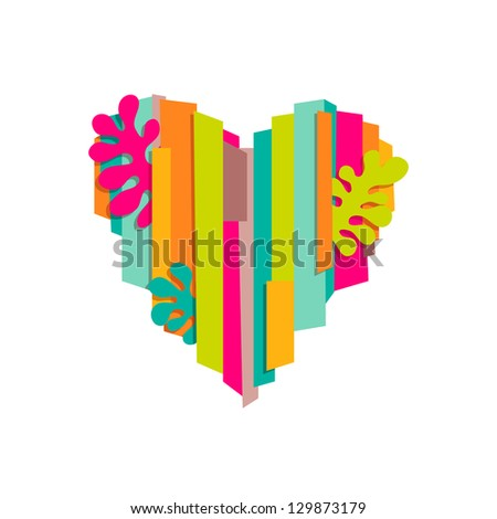 Colorful heart shape - stock vector