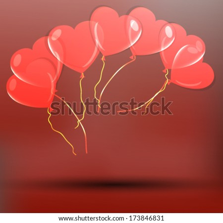 Colorful Heart Shape Balloons - stock vector