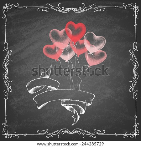 Colorful Heart Shape Balloons on chalkboard . Valentines day . Vector illustration. - stock vector