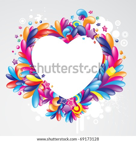 Colorful heart shaped frame for your message - stock vector