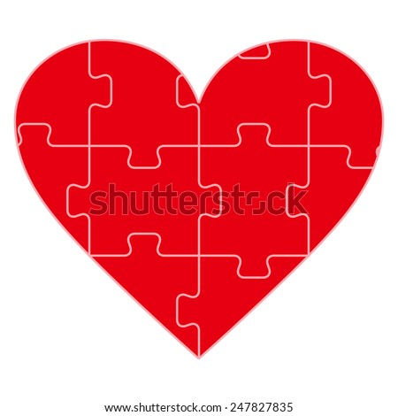 Colorful heart shaped puzzle vector graphic template illustration isolated on white background - stock vector