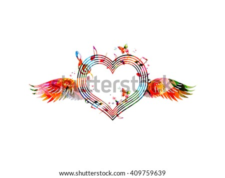 Colorful heart shaped stave with wings