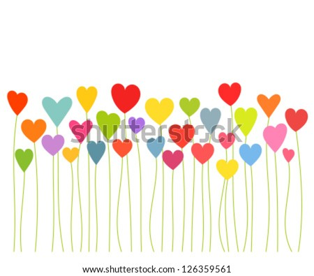 Colorful hearts growing - Valentines concept. Vector illustration
