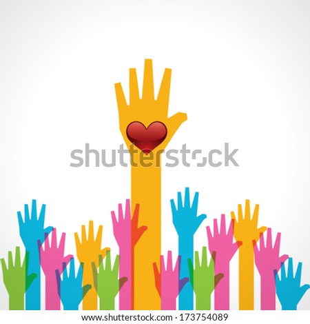 Colorful helping hand background with heart stock vector