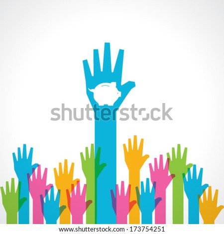 Colorful helping hand background with piggy bank stock vector