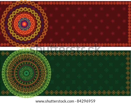 Colorful Henna Mandala Banners, very elaborate and easily editable - stock vector