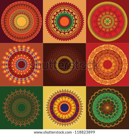 Colorful Henna Mandala design, very elaborate and easily editable - stock vector