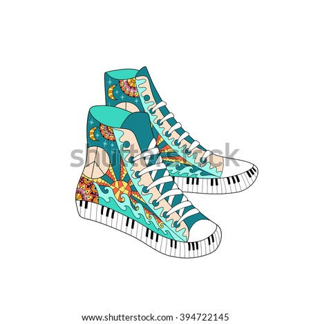 Colorful hippie hight sneakers in zentangle style. Coloring book page for adult anti stress. Hippy ornamental gum shoes isolated on white background. Hippie pattern. Boho fashion. - stock vector