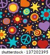 Colorful hippie seamless pattern with peace signs, hearts and flowers - stock vector