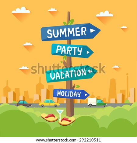 Colorful holiday background. Highway road signs with Summer, Party, Vacation, Holiday arrows on city background. Vector colorful illustration in flat style  - stock vector