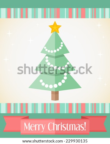 Colorful holiday Christmas card with decorated fir tree and red ribbon