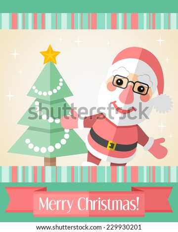 Colorful holiday Christmas card with Santa Claus and decorated fir tree - stock vector