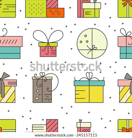 Colorful holiday seamless pattern with different gifts and presents. Christmas or New Year background. Perfect for Christmas cards. - stock vector