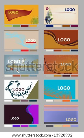Colorful horizontal business card identity layouts with palettes in vector format. - stock vector