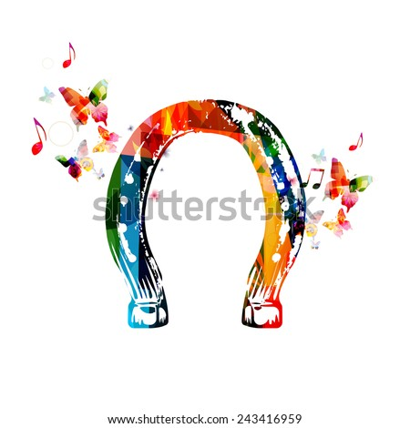 Colorful horseshoe design with butterflies - stock vector
