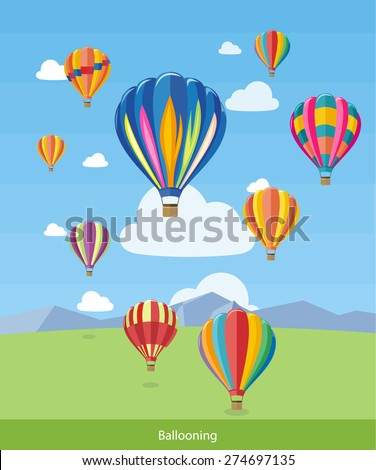 Colorful hot air balloons flying over the mountain. Icons of traveling, planning summer vacation, tourism and journey objects. Web banners, marketing and promotional materials, presentation templates  - stock vector