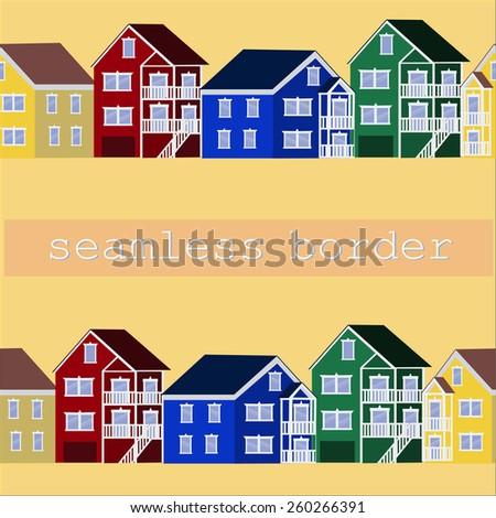 Colorful house border illustration banner - stock vector