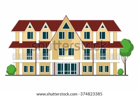 Colorful  House. Flat style modern buildings. Vector illustration.