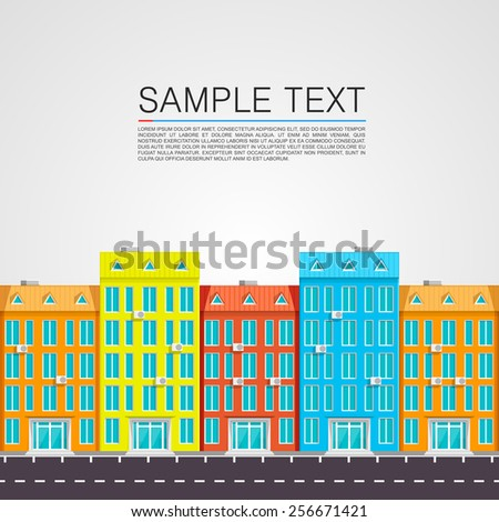 Colorful houses along the road. Vector illustration - stock vector