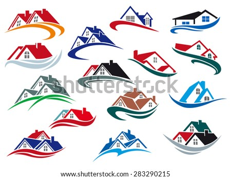 Colorful houses and homes icons with rooftops on waves for real estate industry design - stock vector