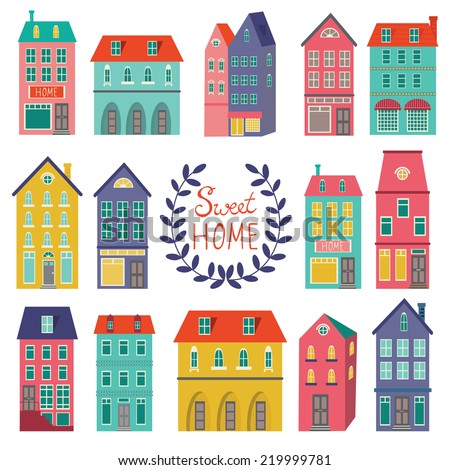 Colorful houses collection. Home sweet home set. - stock vector