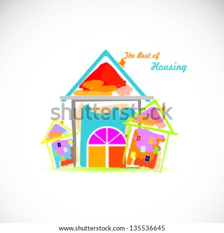 Colorful houses design vector background - stock vector