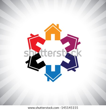 colorful houses(homes) or real estate icon(symbol) in circle. This vector graphic can also represent construction industry, realty business of buying & selling property, etc - stock vector
