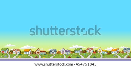 Colorful houses in suburb neighborhood. Green park landscape with grass, trees, flowers and clouds.  - stock vector