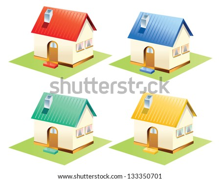 Colorful houses set isolated . Vector Illustration. - stock vector