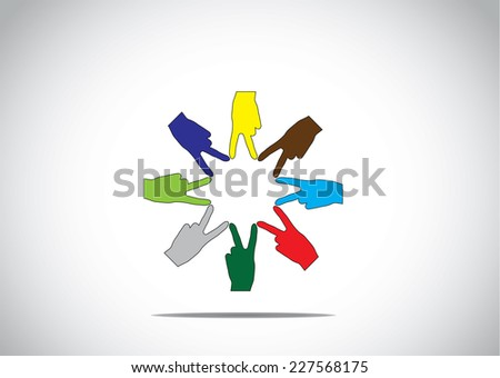 colorful human hands in a circular arrangement with victory winning symbol - teamwork success achievement young diversity unity diverse win concept illustration art - stock vector