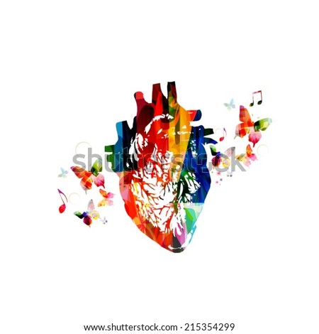 Human Heart Vector Image Colorful Human Heart Design
