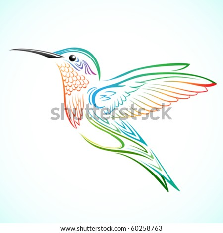 Colorful Hummingbird - stock vector