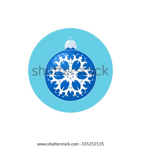 Colorful Icon Christmas  Ball with Snowflake , Colorful Icon Blue Ball ,  Icon  Christmas Tree Decoration,Merry Christmas and Happy New Year, Vector Illustration - stock vector