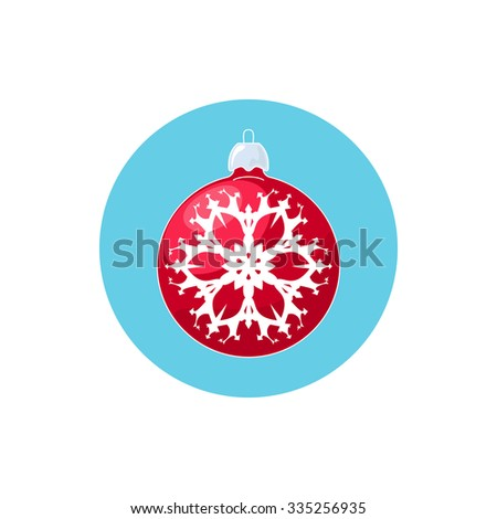 Colorful Icon Christmas  Ball with Snowflake , Colorful Icon Red Ball , Icon  Christmas Tree Decoration,Merry Christmas and Happy New Year, Vector  Illustration - stock vector