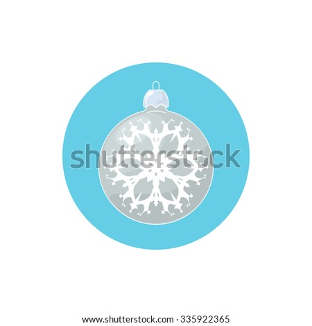 Colorful Icon Christmas  Ball with Snowflake , Colorful Icon Silver Ball , Icon  Christmas Tree Decoration,Merry Christmas and Happy New Year, Vector Illustration - stock vector